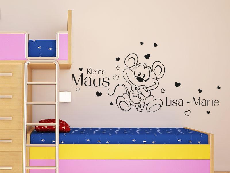 Wandtattoo Hübsche Kleine Maus - mit Wunschname