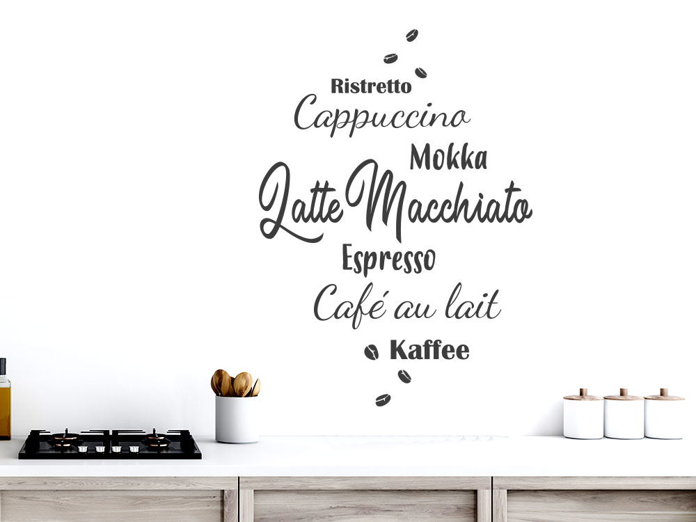 Kaffee Wandtattoo Spezialitäten in einer Küche