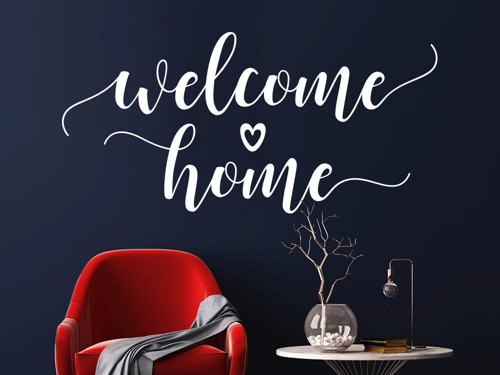 Kreatives Wandtattoo Welcome Home mit Herz im Flur