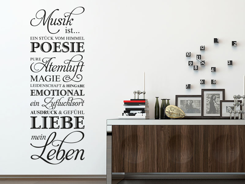 wandtattoo musik ist meine leben. Black Bedroom Furniture Sets. Home Design Ideas