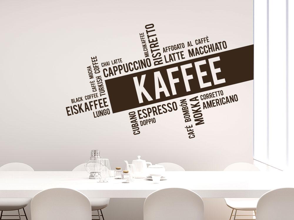 Modernes Wandtattoo Kaffee Wortwolke Wohnküche