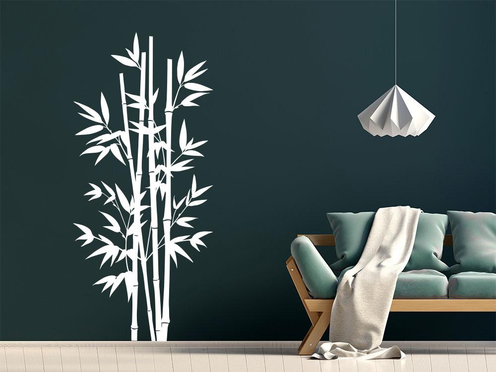 Wandtattoo Großer Bambus im Wohnzimmer in der Farbe Weiß