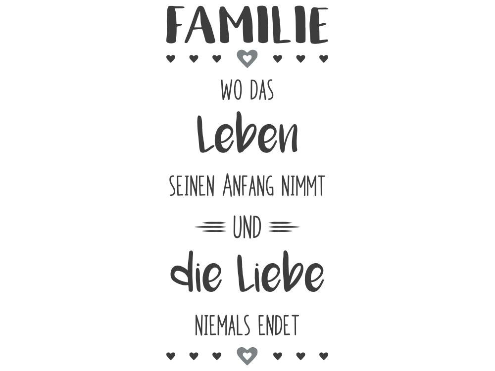 Wandtattoo Familie Wo das Leben seinen Anfang nimmt und Liebe niemals endet - Gesamtansicht des Wandtattoos