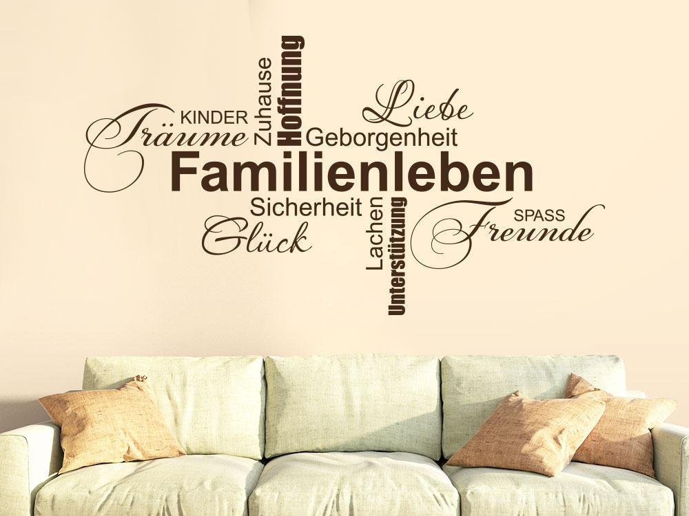Wandtattoo Familienleben Wortwolke über Sofa in Farbe Braun