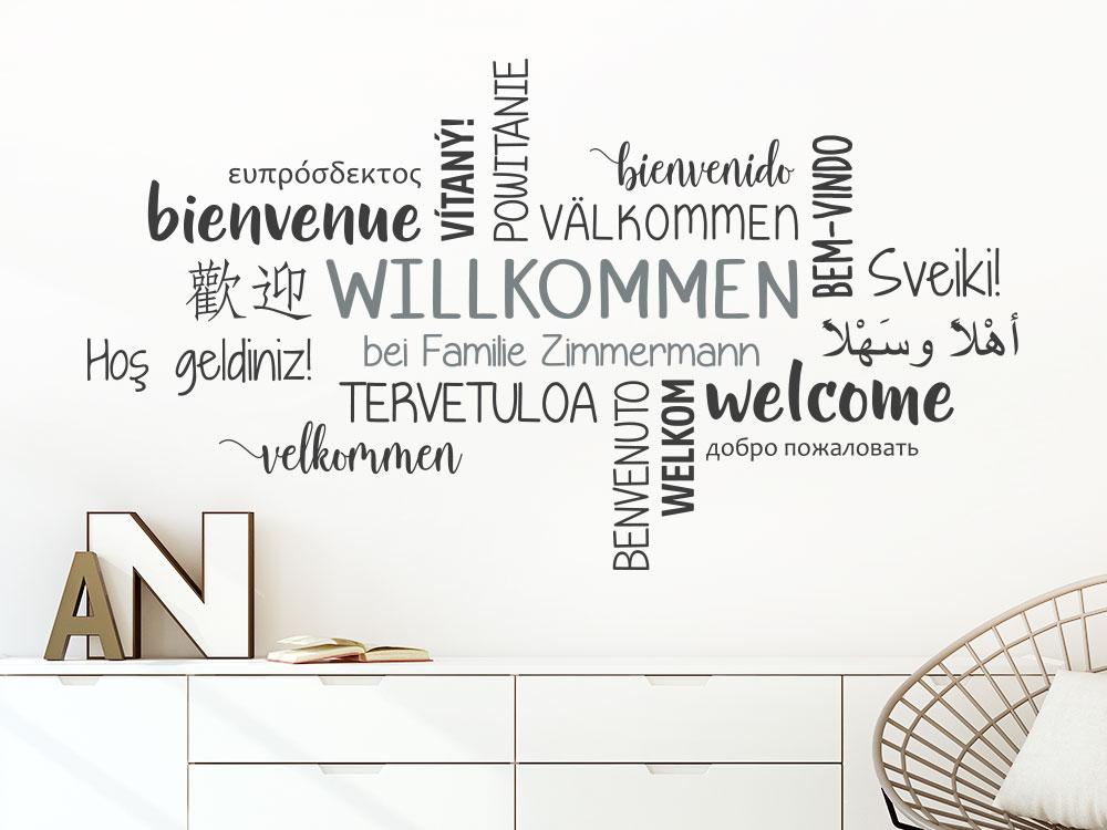 Wandtattoo Willkommen bei Familie Wortwolke