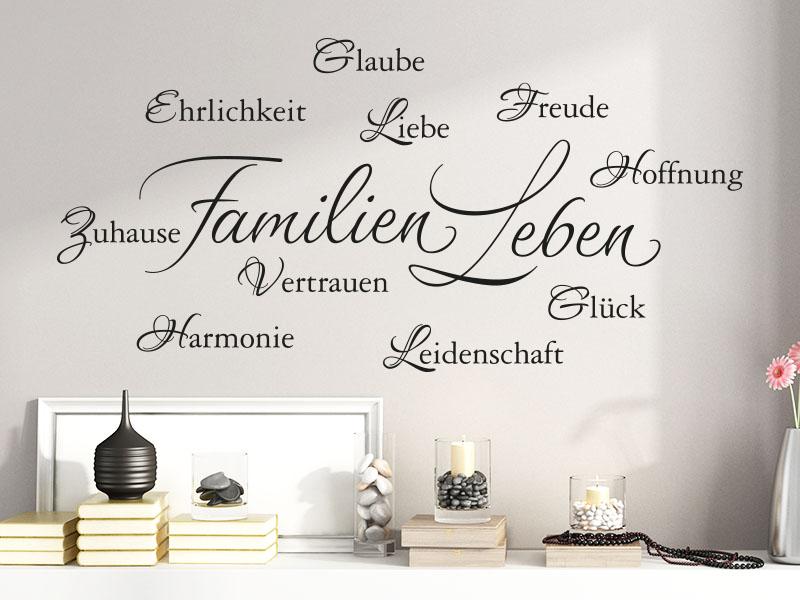 Wandtattoo Wortwolke Familien Leben
