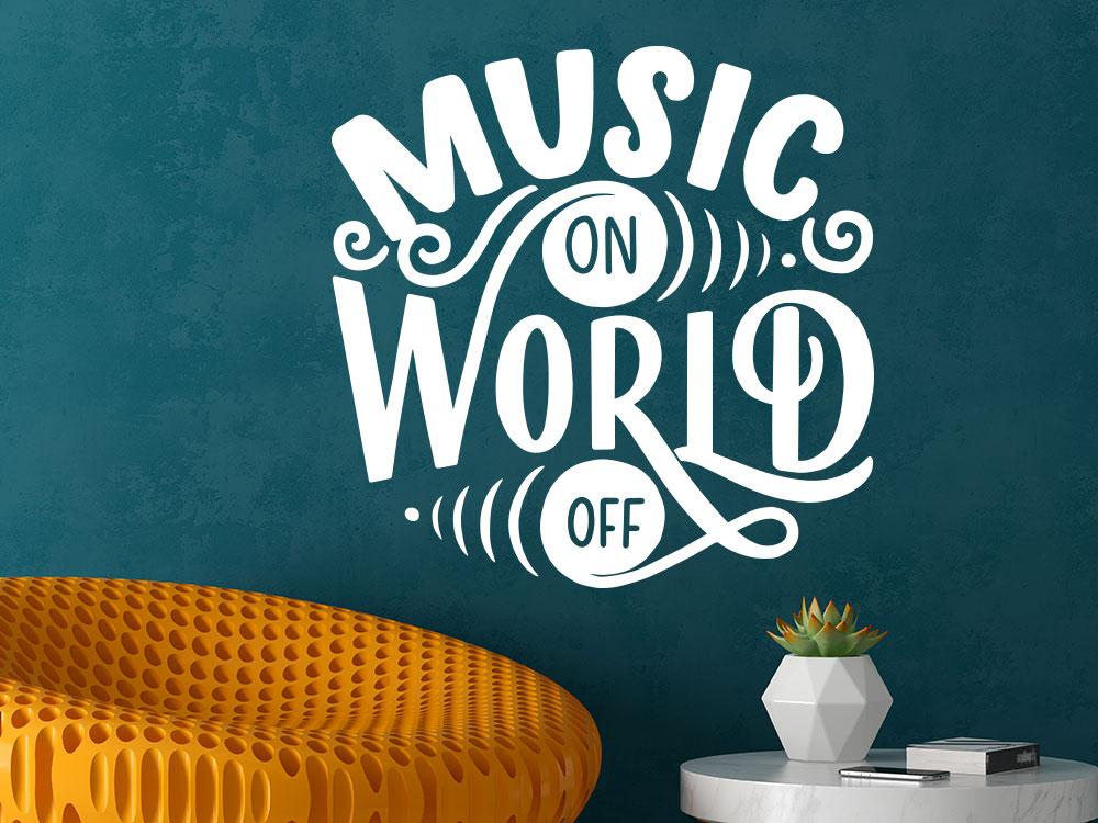 Wandtattoo Music on World off im Jugendzimmer