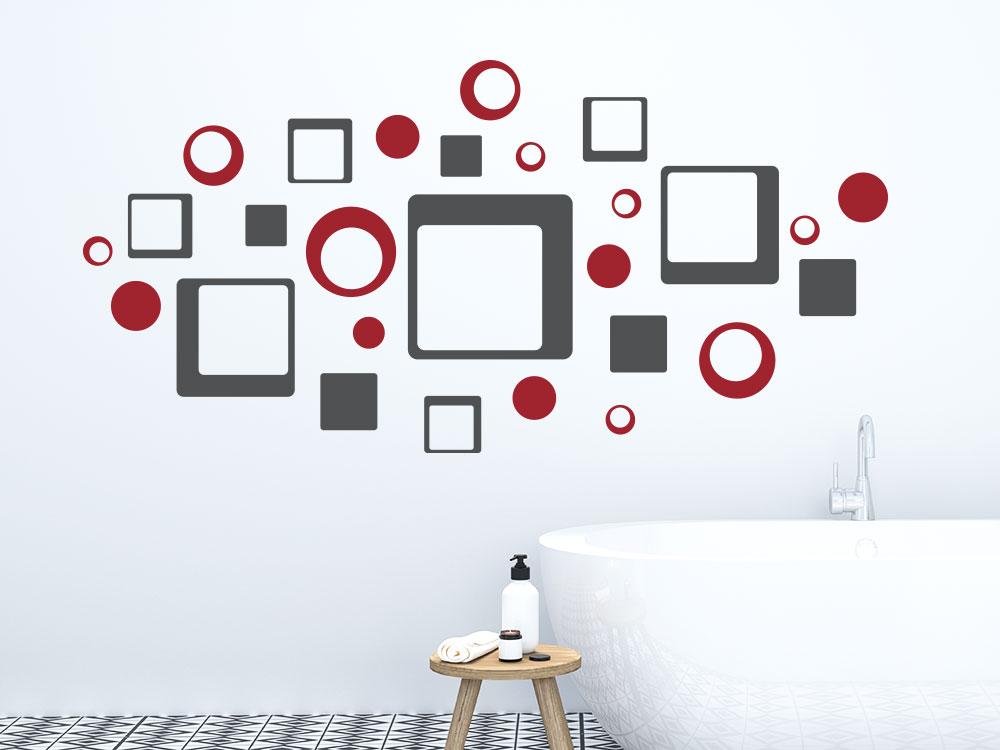 Zweifarbige Retro Wandtattoo Quadrate und Punkte im Badezimmer