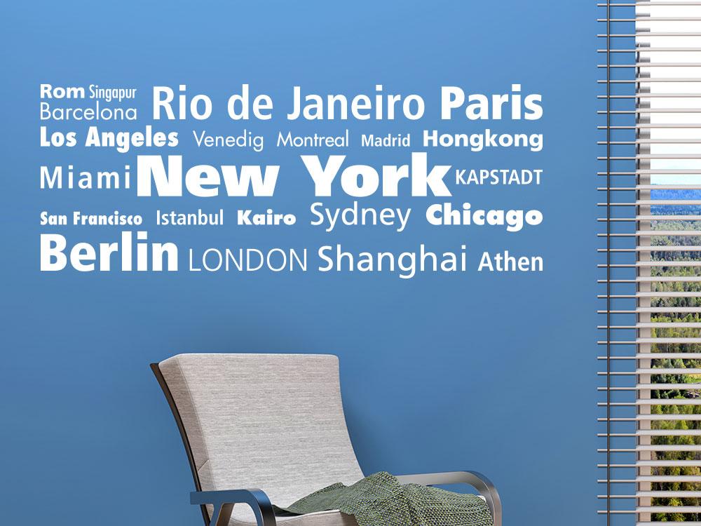 Wandtattoo Metropolen der Welt auf blauer Wohnzimmerwand