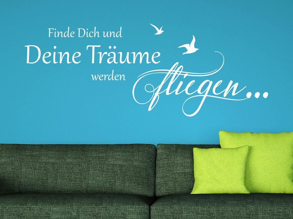 Wandtattoo Deine Träume fliegen... im Wohnzimmer