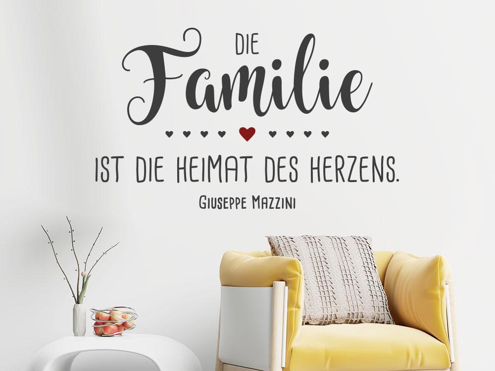 Wandtattoo Die Familie ist die Heimat des Herzens