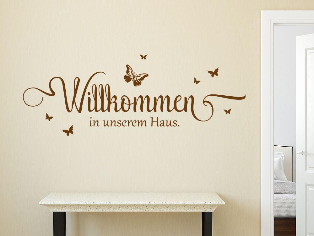 Schmetterling Wandtattoo Willkommen in unserem Haus