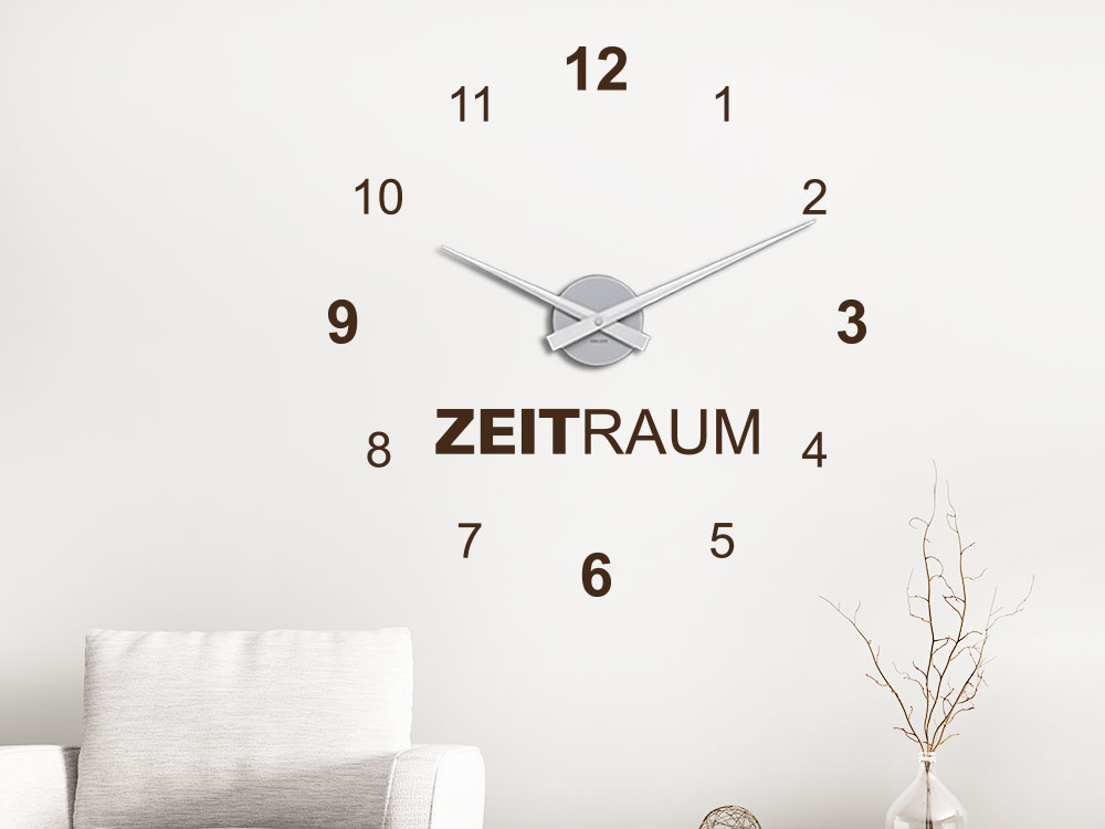 Wandtattoo Uhr Zeitraum helle Wand in Farbe Braun