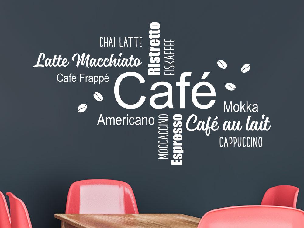 Café Wortwolke Wandtattoo Wohnküche