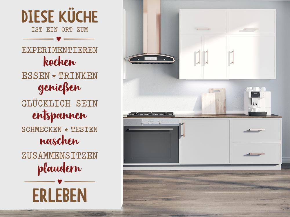 Zweifarbiges Wandtattoo Diese Küche ist mit Herzen