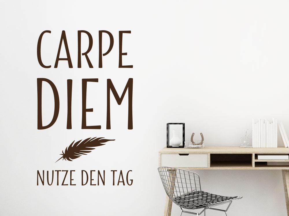 wandtattoo carpe diem mit feder von klebeheld de. Black Bedroom Furniture Sets. Home Design Ideas