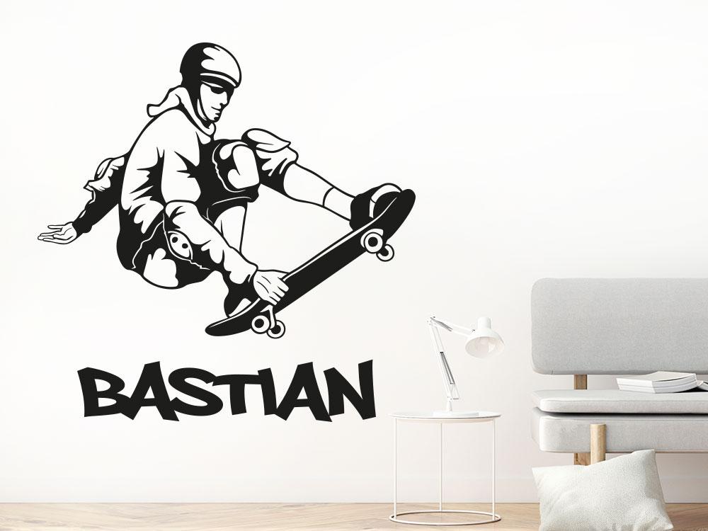 Stylischer Wandtattoo Skater mit Wunschname beim Sprung