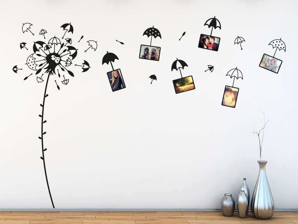 wandtattoo fotorahmen pusteblume mit regenschirmen klebeheld. Black Bedroom Furniture Sets. Home Design Ideas
