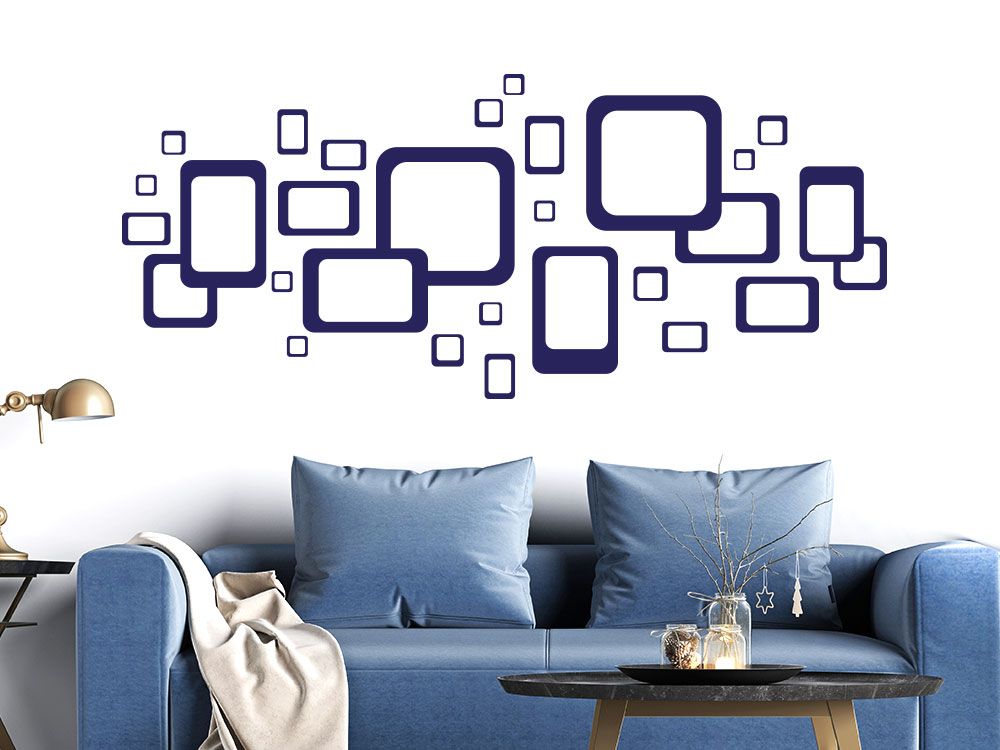 Wandtattoo Retro Design Ornament mit Cubes im Wohnzimmer