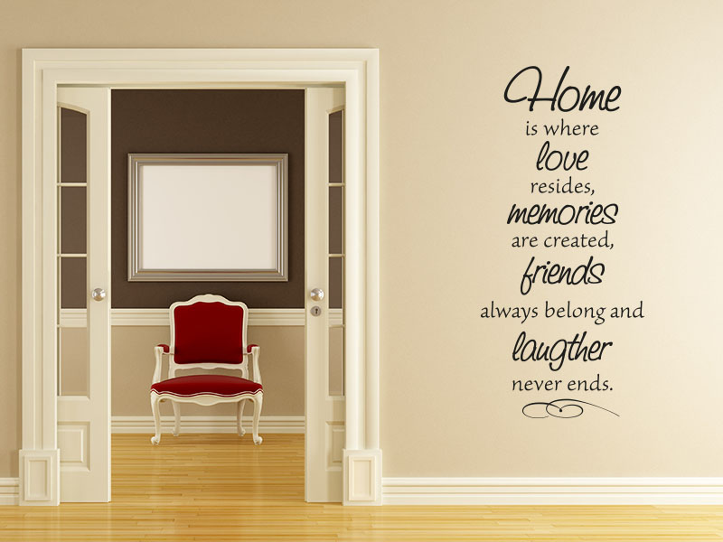 Wandtattoo Spruch Home is where love resides, where memories are created, friends always belong and laughter never ends.