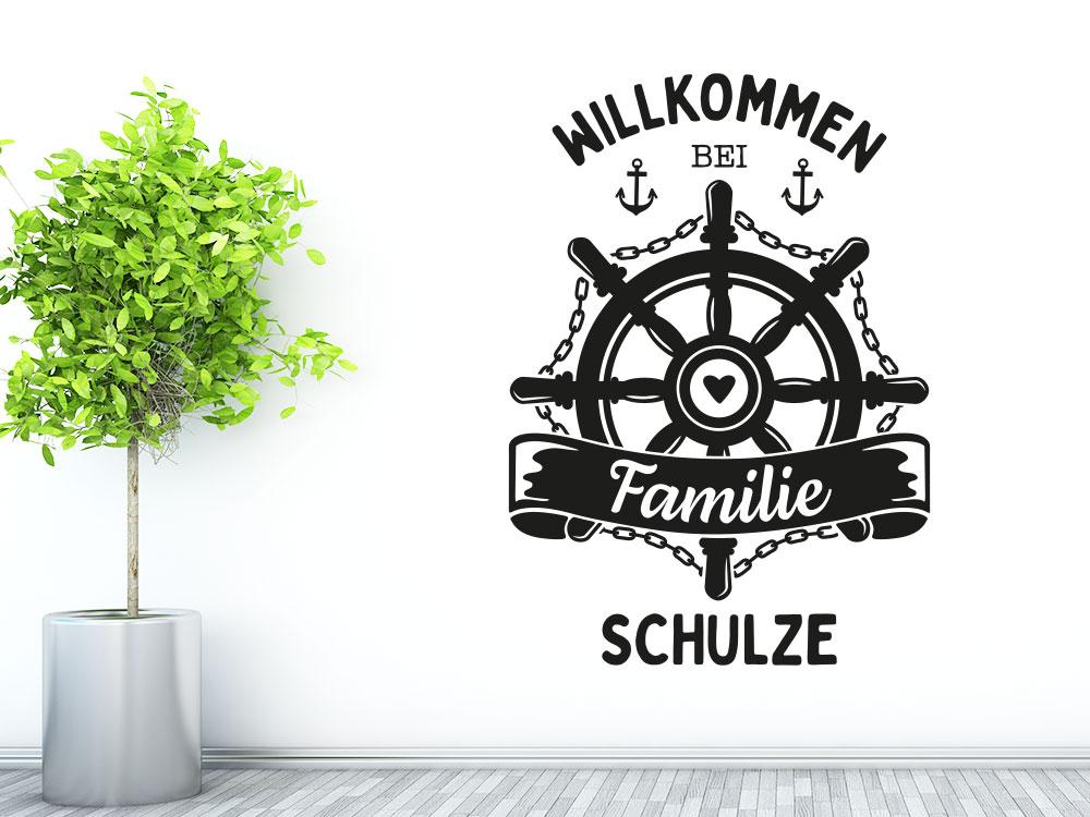 Wandtattoo Steuerrad Willkommen bei Familie