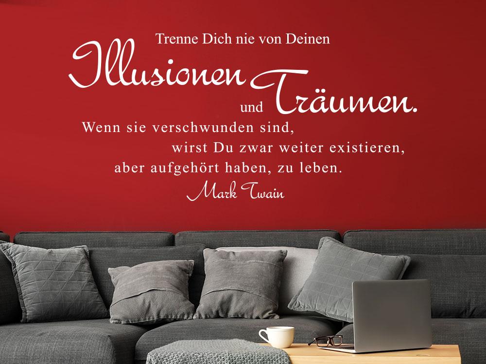 Wandtattoo Trenne dich nie von deinen… Mark Twain Zitat im Wohnzimmer