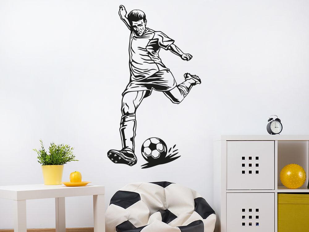 Fußballspieler Wandtattoo mit Fussball