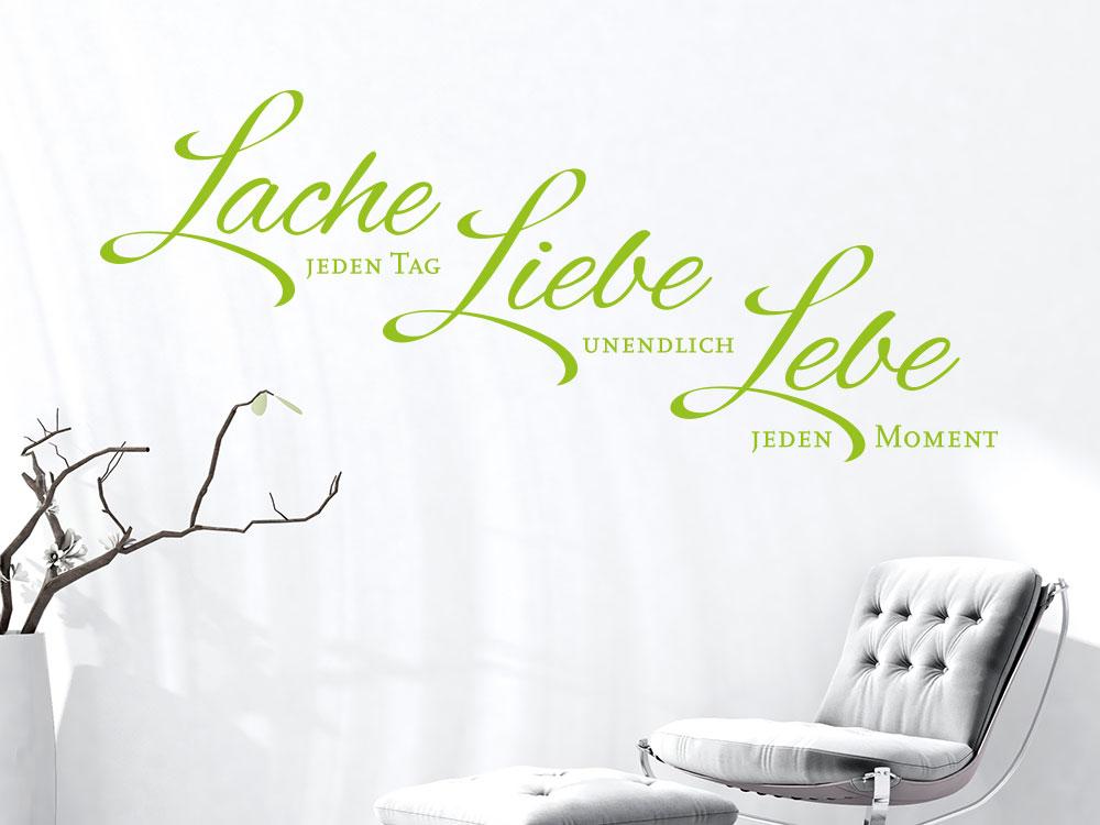 wandtattoo lache jeden tag liebe unendlich lebe jeden. Black Bedroom Furniture Sets. Home Design Ideas