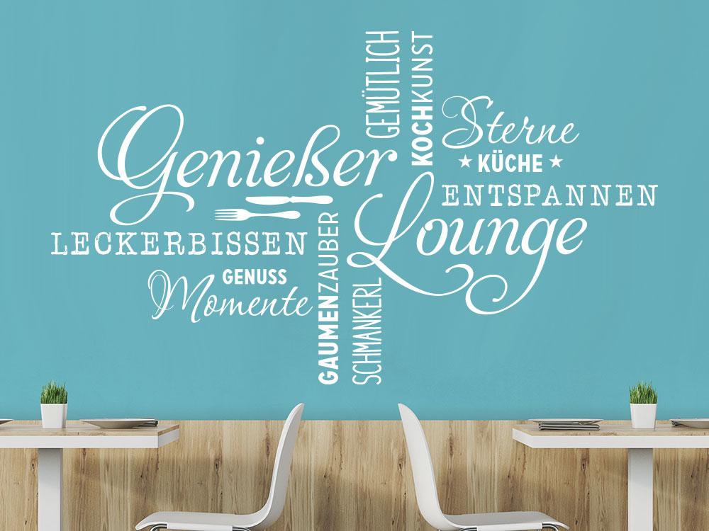 Wandtattoo Wortwolke Genießer Lounge