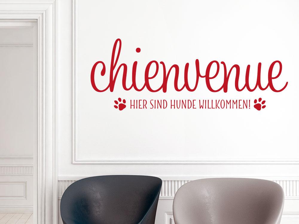 Wandtattoo Chienvenue - Hunde willkommen im Flur