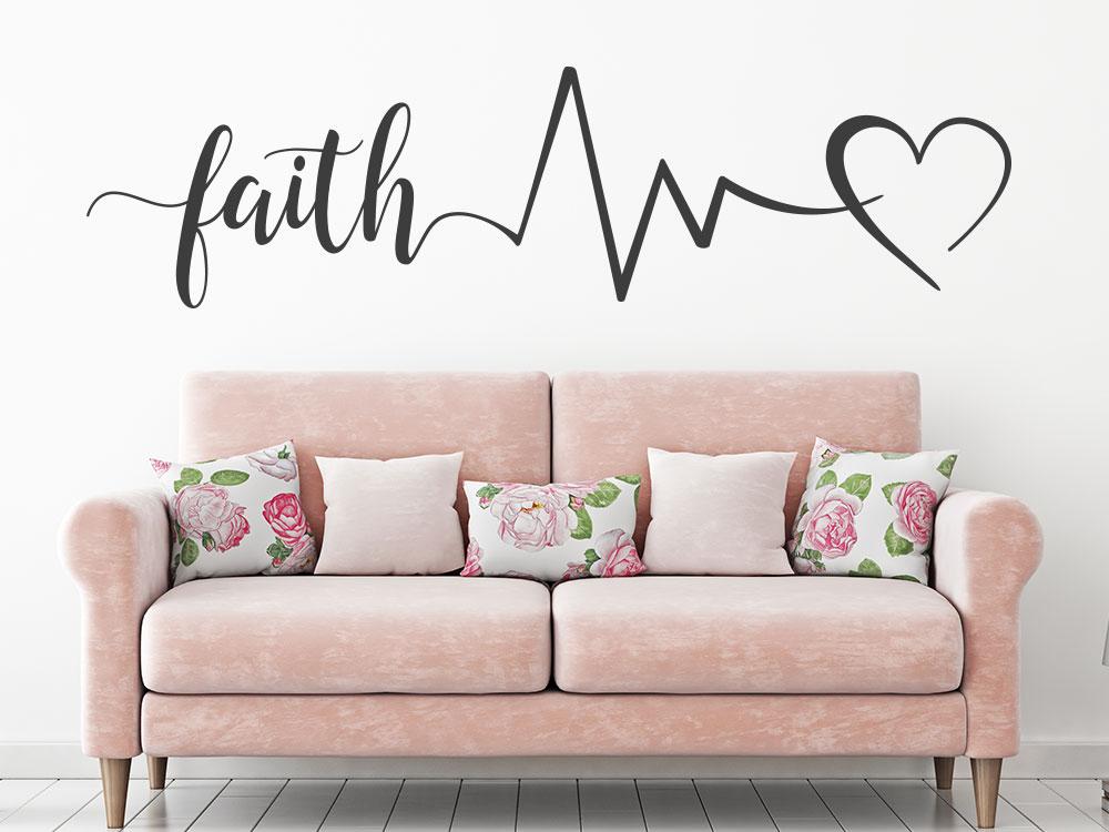 Wandtattoo Faith Hope Love Spruch Wohnzimmer
