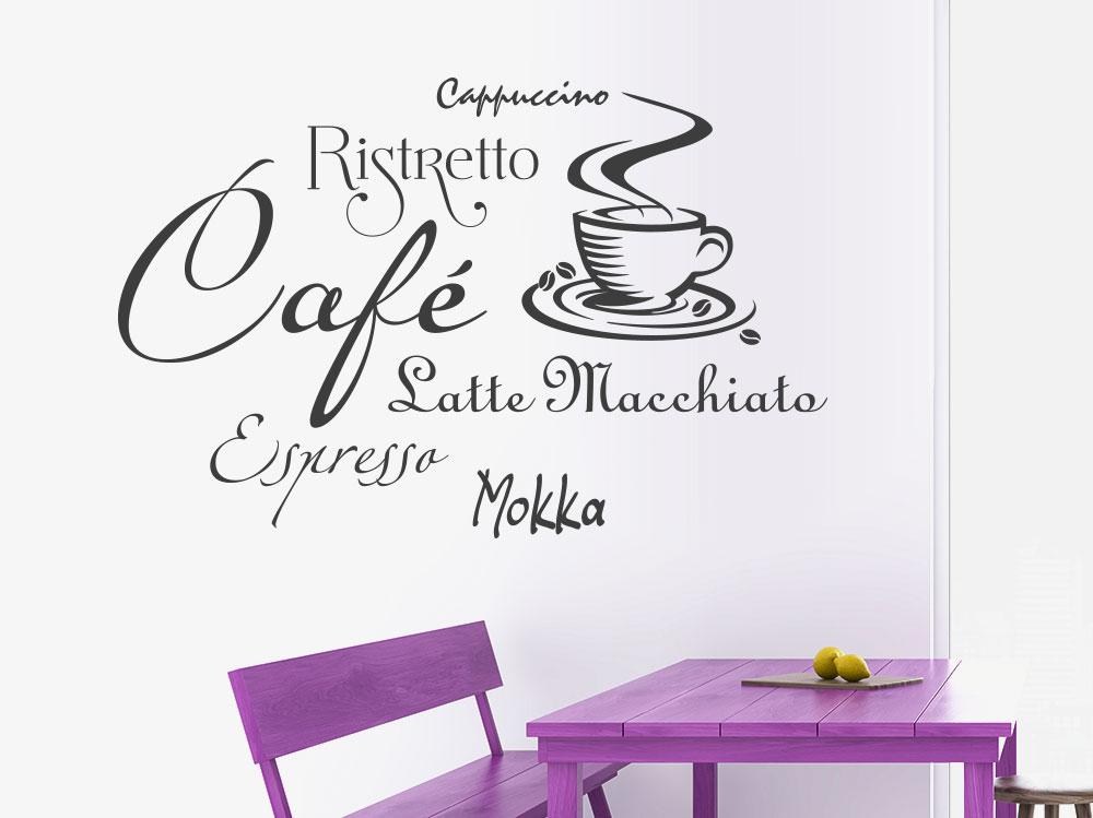 Wandtattoo Kaffee mit dampfender Tasse