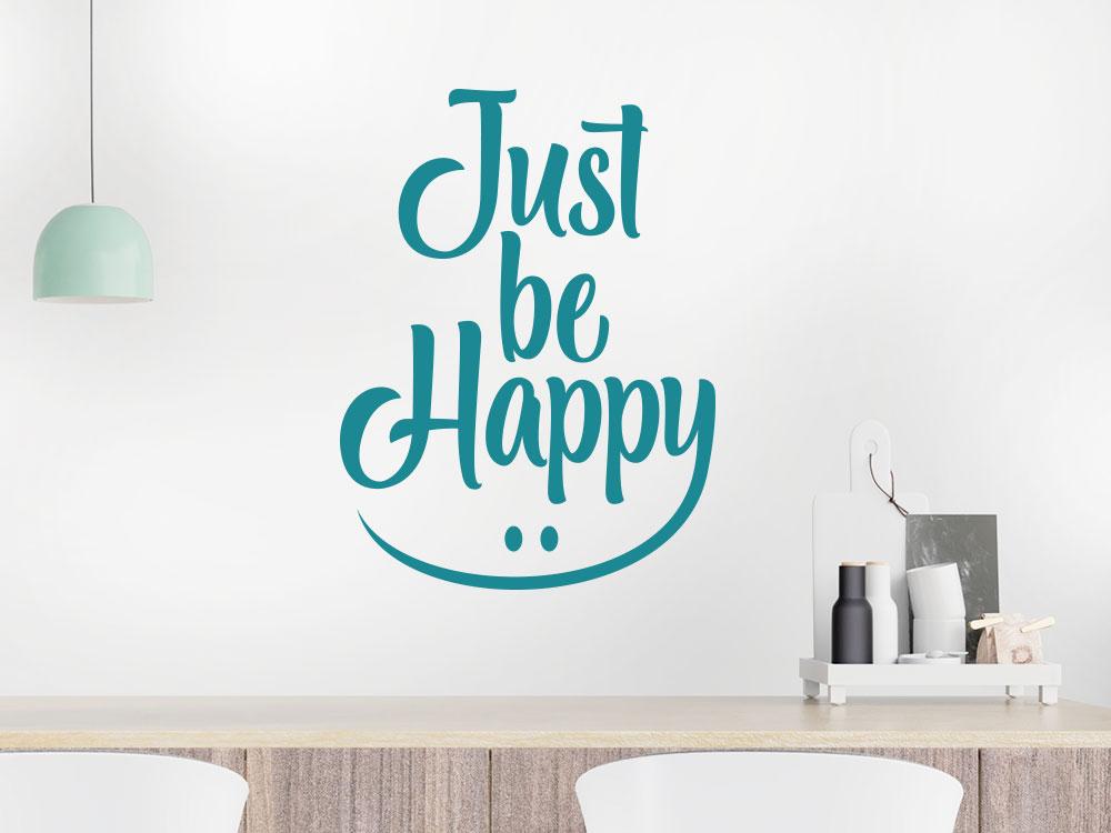 Wandtattoo Just be happy im Wohnzimmer