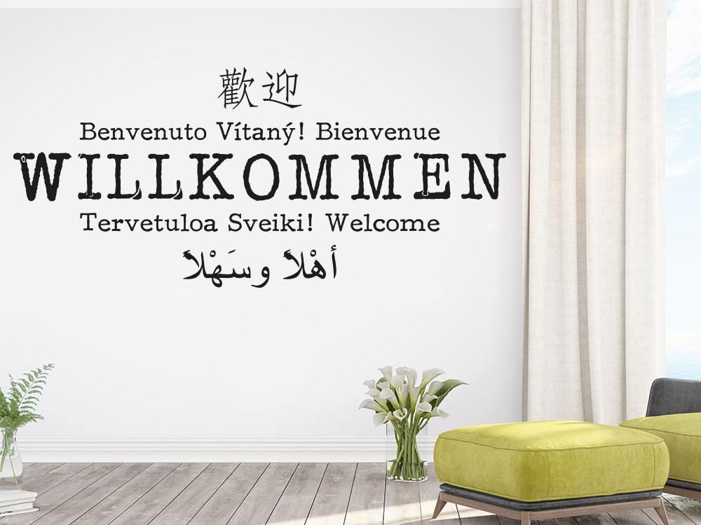 Wandtattoo Willkommen multikulturelle Sprachen in der Farbe schwarz im Flur