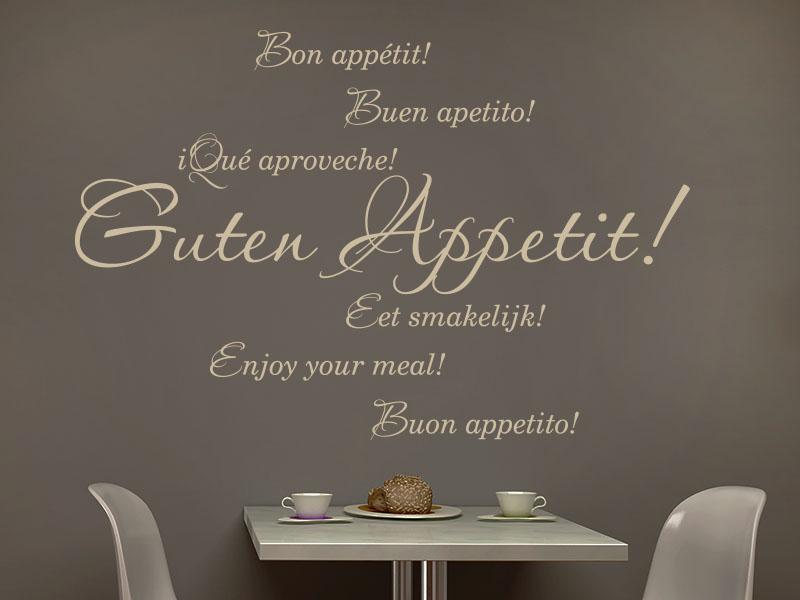 Guten Appetit als Wandtattoo in mehreren Sprachen