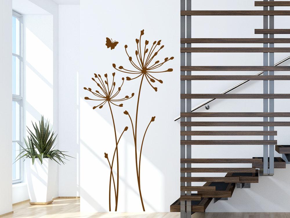 wandtattoo wiesenblume mit schmetterling von klebeheld de. Black Bedroom Furniture Sets. Home Design Ideas