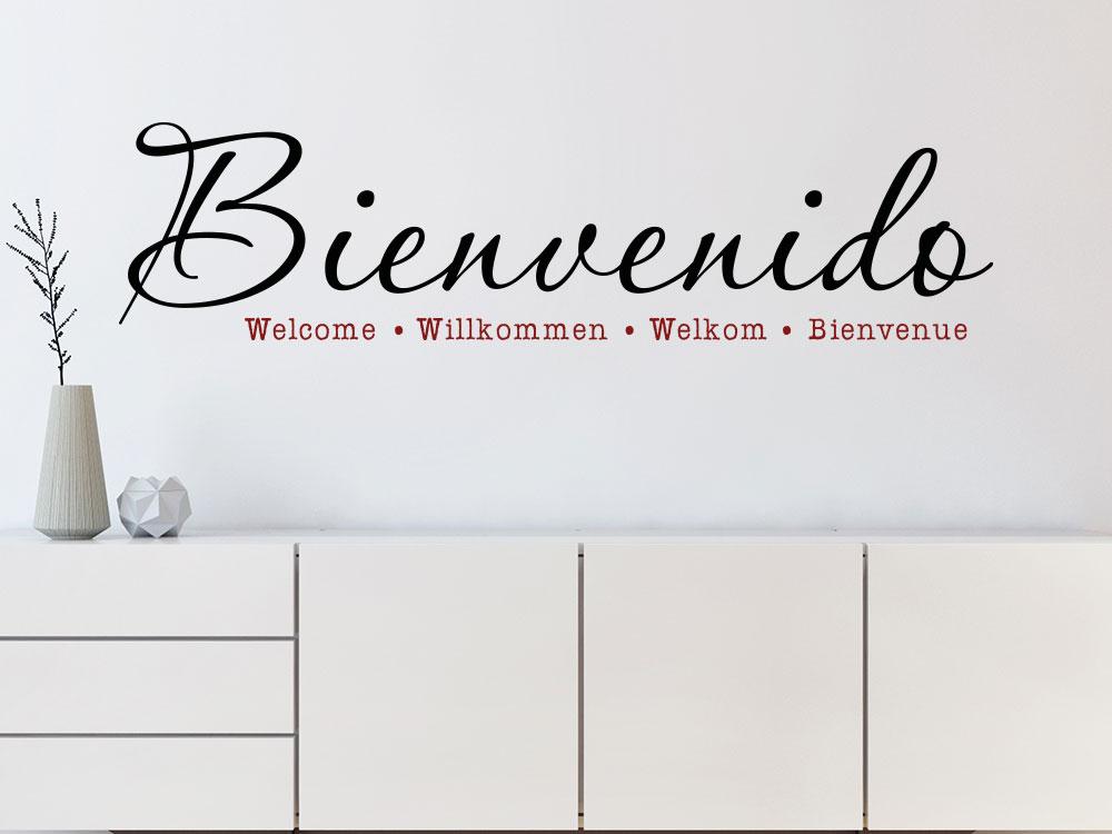 Wandtattoo Bienvenido Willkommen in unterschiedlichen Sprachen