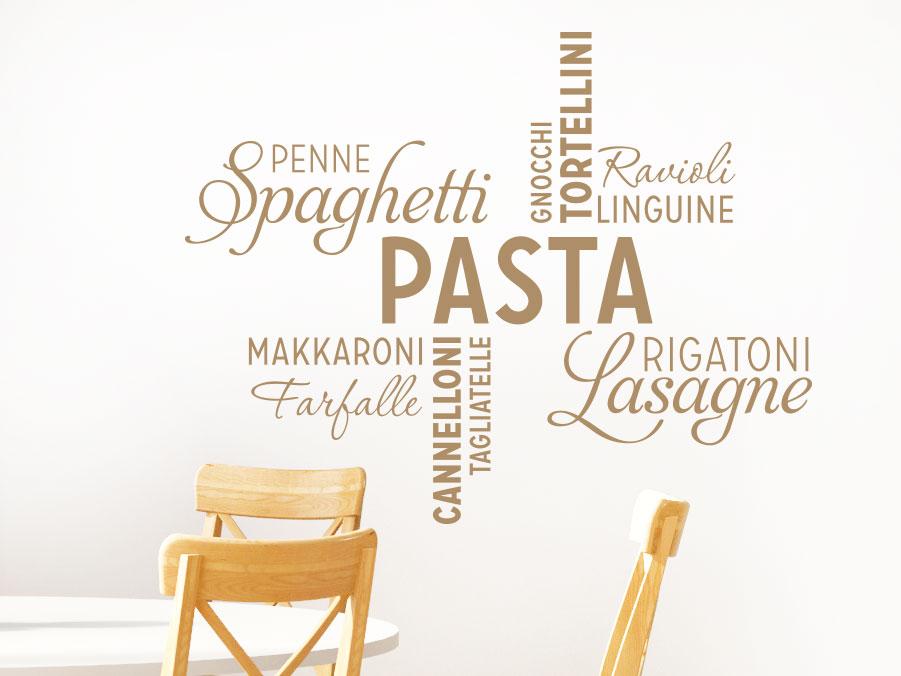 Wortwolke Wandtattoo Pasta im Esszimmer