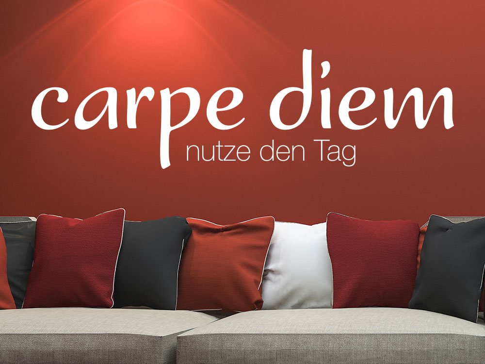 wandtattoo carpe diem no 1 von klebeheld de. Black Bedroom Furniture Sets. Home Design Ideas