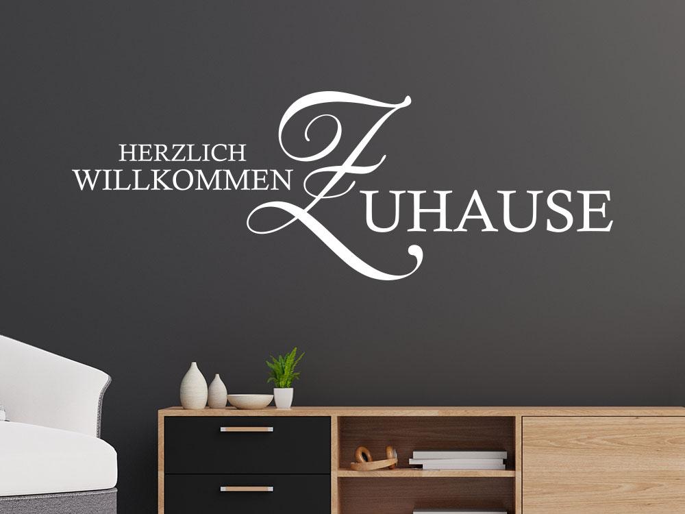 Wandtattoo Herzlich Willkommen Zuhause Schriftzug in Weiß