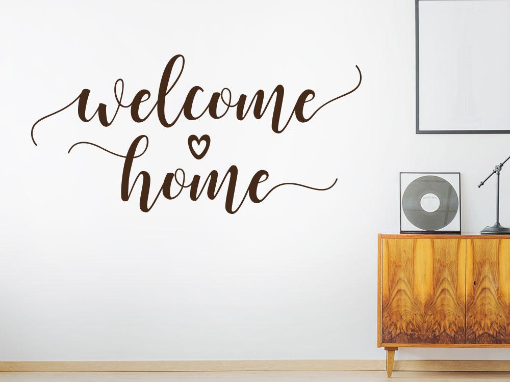 Welcome Home Wandtattoo mit Herz helle Wand