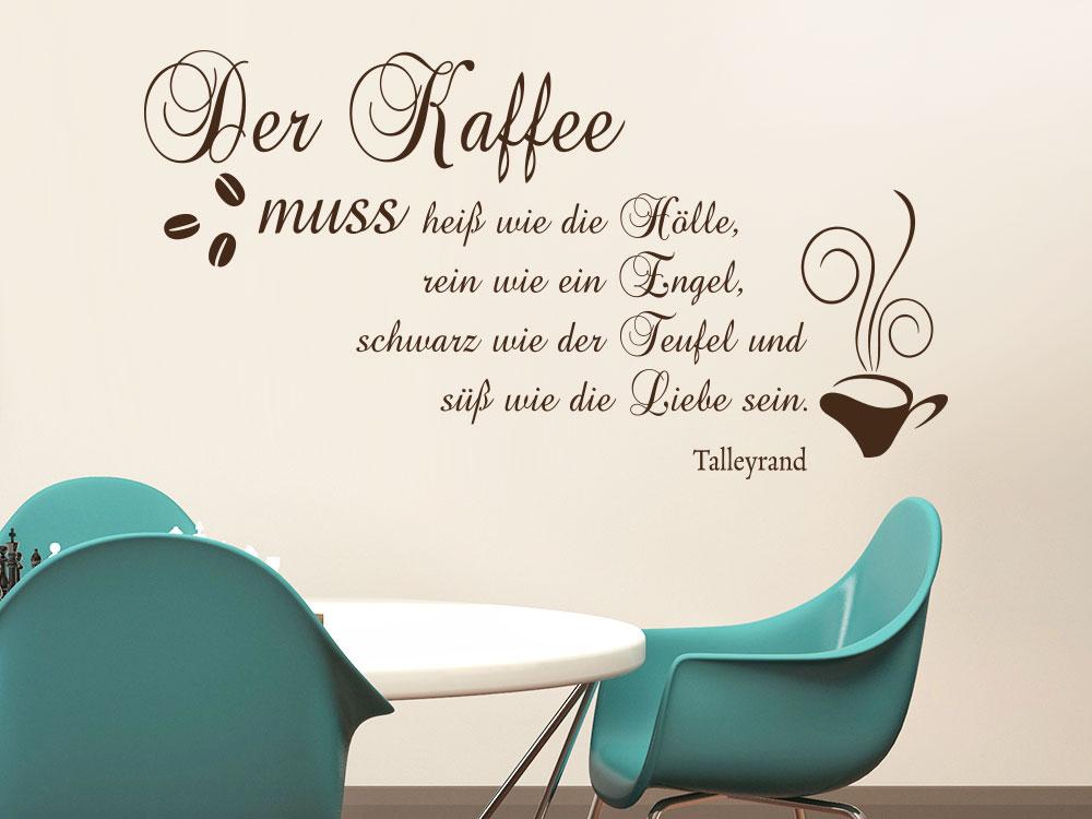 Wandtattoo Der Kaffee muss heiß wie die Hölle im Esszimmer in der Farbe braun