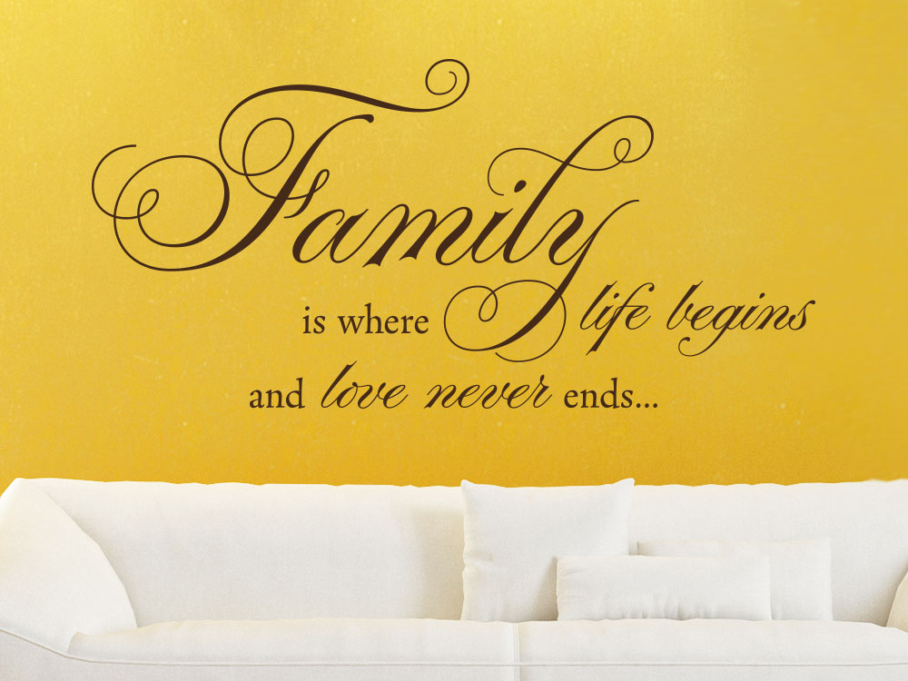 Wandtattoo Family is where life begins auf gelber Wand