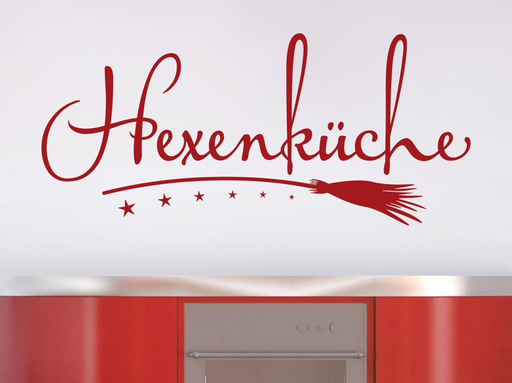 Wandtattoo Hexenküche mit Besen in roter Küche
