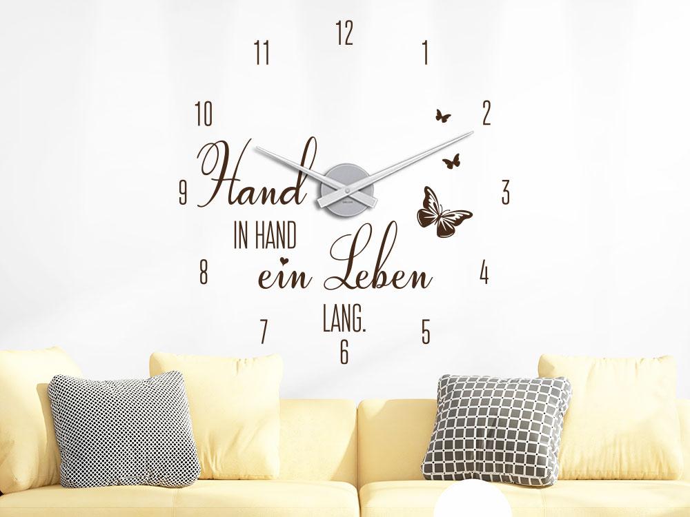Wandtattoo Uhr Hand in Hand