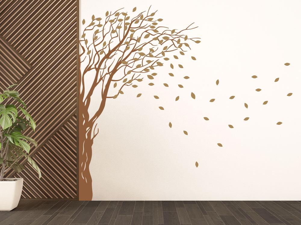 Baum Wandecke Wandtattoo im Flur in den Farben Lehmbraun / Hellbraun