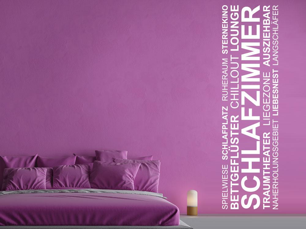 Wandtattoo Wandbanner Schlafzimmer Wortwolke in Farbe weiß