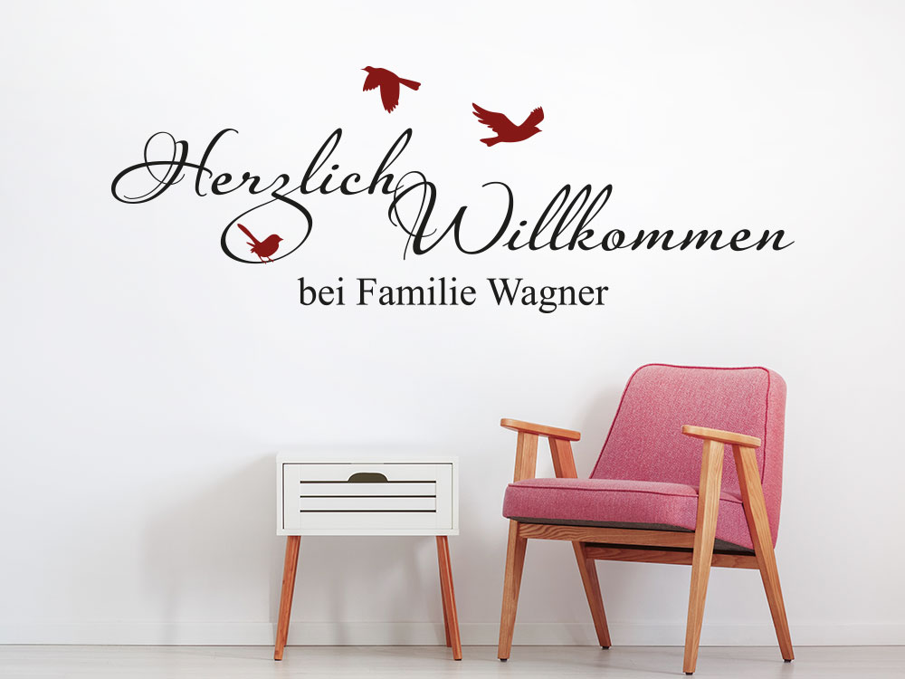 Wandtattoo Herzlich Willkommen bei Familie mit Wunschname