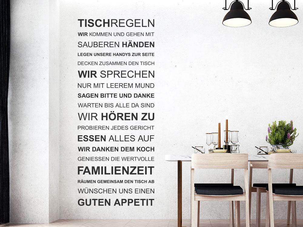 Wandtattoo Tischregeln Wandbanner neben Esstisch