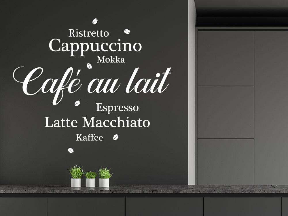 Wandtattoo Café au lait mit Kaffeebohnen auf Küchenwand